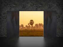 Landscape behind the opening door Royalty Free Stock Photography