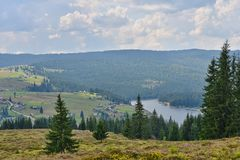 Landscape with Belis lake and holiday homes. Stock Photo