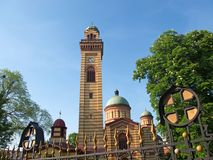 Landscape of the Orthodox church in Jagodina, Serbia. Landscape of the bell tower and the entrance to the Orthodox church in Jagodina, Serbia. The church is royalty free stock images