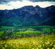 Landscape below Giewont. View of Giewont mountain from Gubalowka - Zakopane, Poland Stock Photo