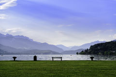 Landscape with bench near the lake Royalty Free Stock Photo
