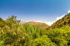 Landscape of the Beni Snassen Mountains in northeast Morocco stock images