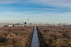 Landscape of Berlin TV Tower and Brandenburg Gate Stock Photos