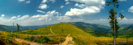 Landscape in the Beskid mountains. Royalty Free Stock Photo