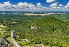 Landscape from Bezdez Castle. View of the summer landscape from Bezdez Castle/Czech Republic royalty free stock photo