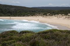 Landscape of Big Marley beach. Sunny spring afternoon in the Royal National Park Bundeena, Australia stock photos