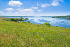 Landscape with big Ukrainian river Dnepr. Stock Photo