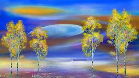 Landscape with birches Royalty Free Stock Photo