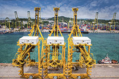 Landscape from bird view of Cargo ships entering one of the busi Royalty Free Stock Photography