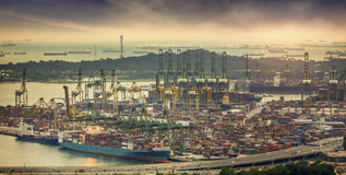 Landscape from bird view of Cargo ships Stock Photography