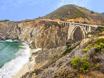 Landscape with the Bixby Creek Bridge in California Stock Images