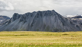 Landscape with black mountain in Iceland. Royalty Free Stock Image