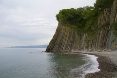 Landscape at the Black Sea coast and Kiseleva rock. Tuapse, Russ Stock Photo