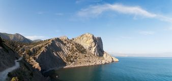 Landscape of the Black Sea and mountain in Crimea. Russia royalty free stock photo