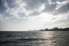 Landscape of Black Sea in Odessa from yacht stock photos