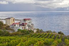 Landscape of the Black Sea resort shore Stock Image