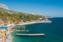 Landscape of the Black Sea resort shore in Simeiz town, Crimean peninsula Royalty Free Stock Photo