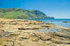 Landscape with Black Sea shore on Meganom cape Stock Photos