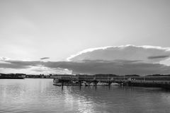 Landscape in black and white a. Landscape of a marina in black and white Royalty Free Stock Photo