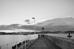 Landscape in black and white. Landscape of a port in black and white Royalty Free Stock Images