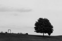 Landscape. Black and white landscape of a tree and a small archway Royalty Free Stock Images