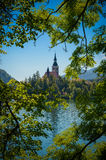 Landscape of Bled church in Slovenia Stock Image