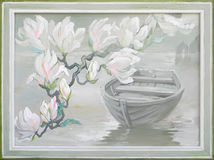 Landscape with blooming magnolias and boat. Oil painting on canvas. Photo of painting by artist Natalja Cernecka royalty free stock image