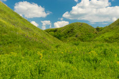 Landscape with blue cloudy sky over ravine overgrown with green herbs in central Ukraine Stock Photography