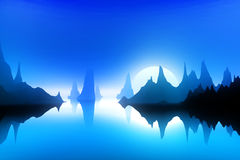 Landscape in blue Royalty Free Stock Image