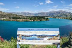Landscape of blue lake at the Bruce Jackson Lookout in New Zealand stock images