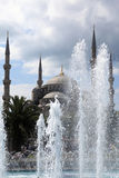 Landscape of Blue Mosque behind the fountain Stock Image