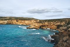 Beautiful bay with turquoise water royalty free stock photography