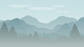 Landscape with blue silhouettes of mountains, hills and forest w. Ith flying birds in the sky -  illustration Stock Photography