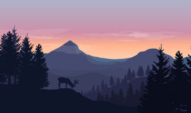 Landscape with blue silhouettes of mountains, hills and trees, w. Ild deer and sunset or sunrise sky in the background royalty free illustration