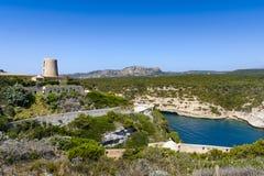 Landscape and blue sky at Bonifacio, Corsica Royalty Free Stock Photography
