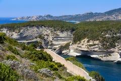 Landscape and blue sky at Bonifacio, Corsica Stock Photo