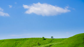 Landscape. Blue sky with cloud and green hill with trees stock photo
