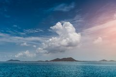 Landscape of blue sky clouds over sea. Vacation background. Stock Images