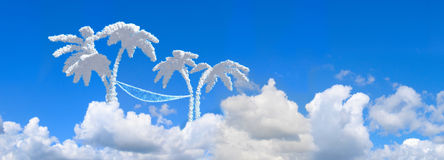 Landscape blue sky and palms Stock Photo