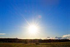 Landscape with the blue sky on sunset Stock Images