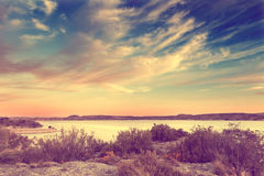 Landscape and blue sky,vintage effect Stock Images