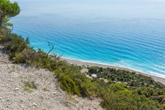 Landscape of blue waters of Megali Petra Beach, Lefkada, Ionian Islands, Greece Stock Photos