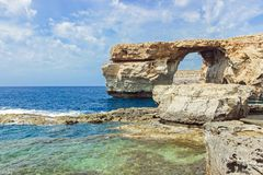 Landscape of blue window in malta. Landscape of blue window on ocean in malta Royalty Free Stock Photo