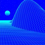 Landscape with wireframe grid of 80s styled retro computer game or science background 3d structure with sun mountains. Landscape with blue wireframe grid of 80s vector illustration