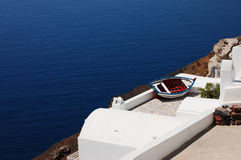 Landscape with a boat. (Santorini island, Greece royalty free stock photography