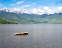 Landscape with boat. Mountains and clouds Lang Co bay, Vietnam Stock Images