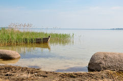 Landscape with the boat. Beautiful landscape with the boat Royalty Free Stock Photos