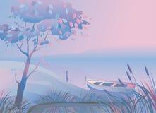 Landscape.Boat.Bulrush Stock Foto's