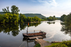 Landscape with the boat on a lake Royalty Free Stock Photo