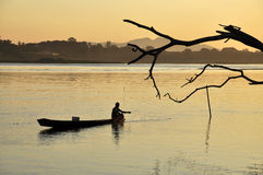 Landscape Boat Thailand Fisherman River Stock Photo